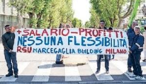 Lo sciopero in viale Sarca (Spf)